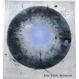 Grafika s modrým středem
